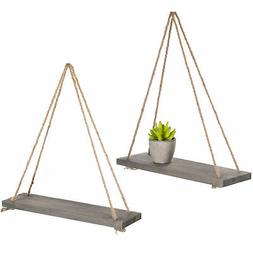 MyGift 17-Inch Rustic Gray Wood Rope-Hanging Floating Shelve