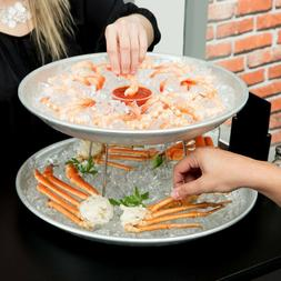 American Metalcraft 2 Tier Seafood Tower Set with Large Alum