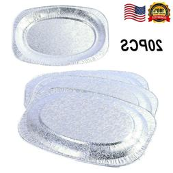 20Pcs Oval Disposable Serving Foil Plate Tray Platter Cateri
