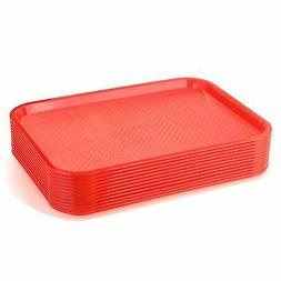New Star Foodservice 24654 Red Plastic Fast Food Tray, 12 by