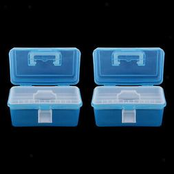 2Pcs Clear Plastic Storage Boxes Case Tray for Art Craft Sup