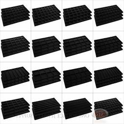 Black Compartment Flocked Display Inserts For Jewelry Cases