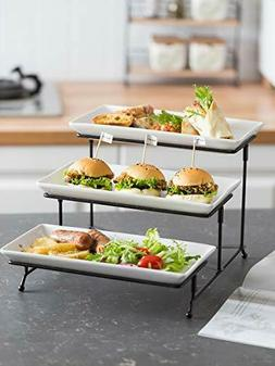 3 Tier Serving Stand Collapsible Sturdier Rack With 3 Porcel