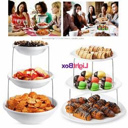 3 Tier Snack Party Birthday Wedding Serving Foldable Tray Bo