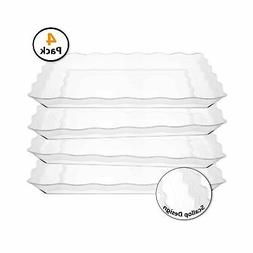 4 Pack Rectangular Clear Plastic Trays, Heavyweight Disposab
