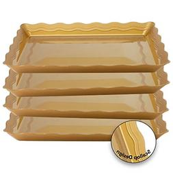 4 Pack Rectangular Plastic Trays Heavyweight Disposable Serv
