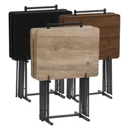 5-Piece Tray Table Set Folding Wood TV Dinner Stand Personal