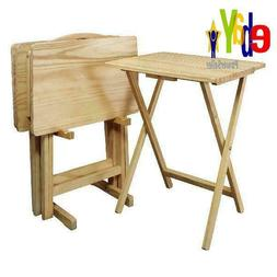 5-Piece Tray Table Set Folding Wood TV Game Snack Dinner Lap