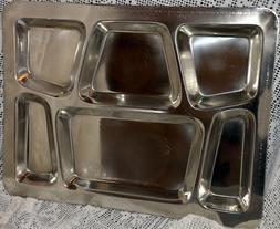 Winco 6-Compartment Stainless Steel  Mess Tray Style B Comme