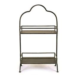 Creative Co-op Decorative Metal 2 Tier Tray with Handle