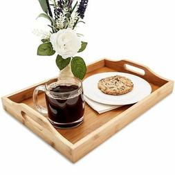 Wood Food Serving Tray with Double Handles - For Breakfast i