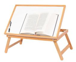Adjustable Bamboo White Folding Breakfast In Bed Tray Laptop