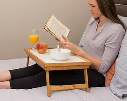 Adjustable Bed Tray Lap Desk Serving Table Foldable Legs Bam