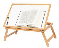 Adjustable Wood Bed Tray Lap Desk Serving Table Folding Legs