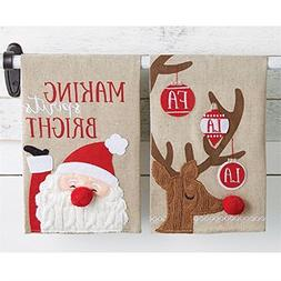 Set of 2 Mud Pie Christmas Holiday Cable Knit Towels Santa &