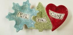 Christmas Holiday Peace Love Joy 3 compartment Candy Dish or