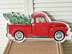 "Christmas theme melamine ""tree in truck with dog"" serving tr"