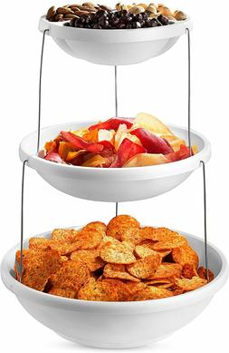 Collapsible Appetizer Serving Tray Bowl Platter Party 3 Tier