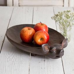 Country new large rustic PIG treen tray