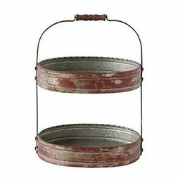 Creative Co-Op Red Metal Oval 2 Tier Tray with Handle