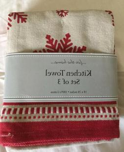 DII Design Imports Holiday Kitchen Towels Set Of 3 Red & Whi