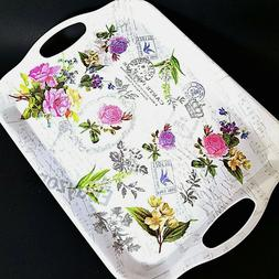 Small Flower Garden Serving Decorative kitchen Tray with Han