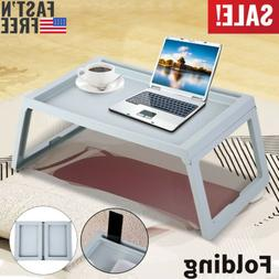 Folding Bamboo Bed Tray Breakfast Laptop Desk Stand Food Ser