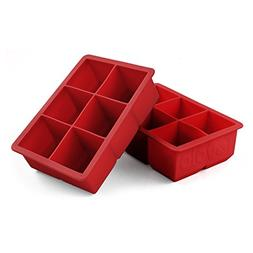 Tovolo King Cube Jumbo Silicone Ice Cube Tray, Candy Red