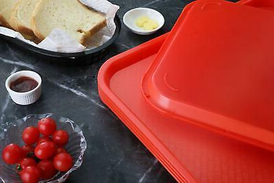New Star Foodservice Red Plastic Fast Tray, 12 Set