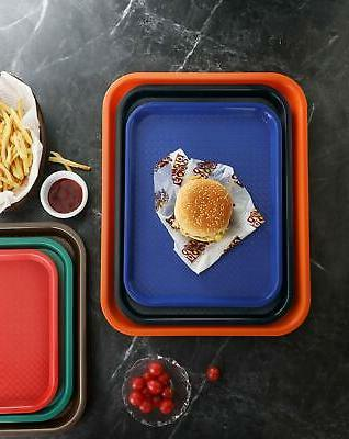 New Red Plastic Food Tray, Set 12
