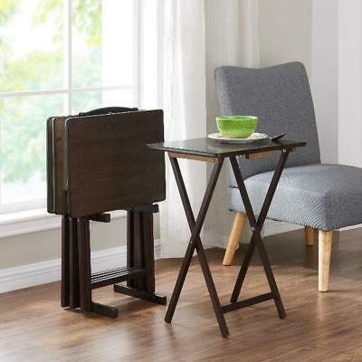 Mainstays Walnut 5-Piece Folding TV Tray Table Set