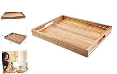 acacia wood serving tray with handles 16