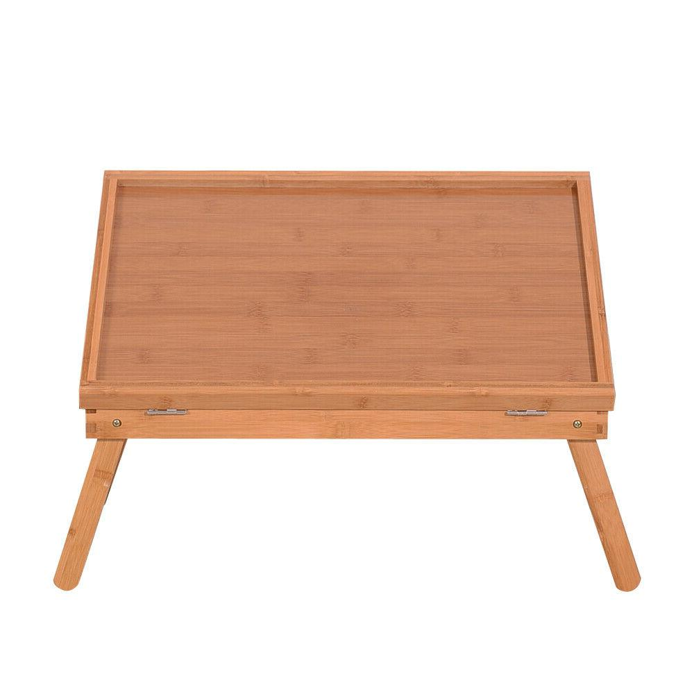 Adjustable Bamboo Bed Laptop Food Serving Table