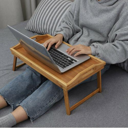Bamboo Bed Tray Laptop Serving Folding Legs Hospital Table