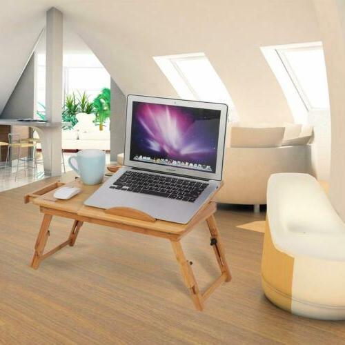 Bamboo Foldable Breakfast Table, Laptop Desk, Bed Serving Tray