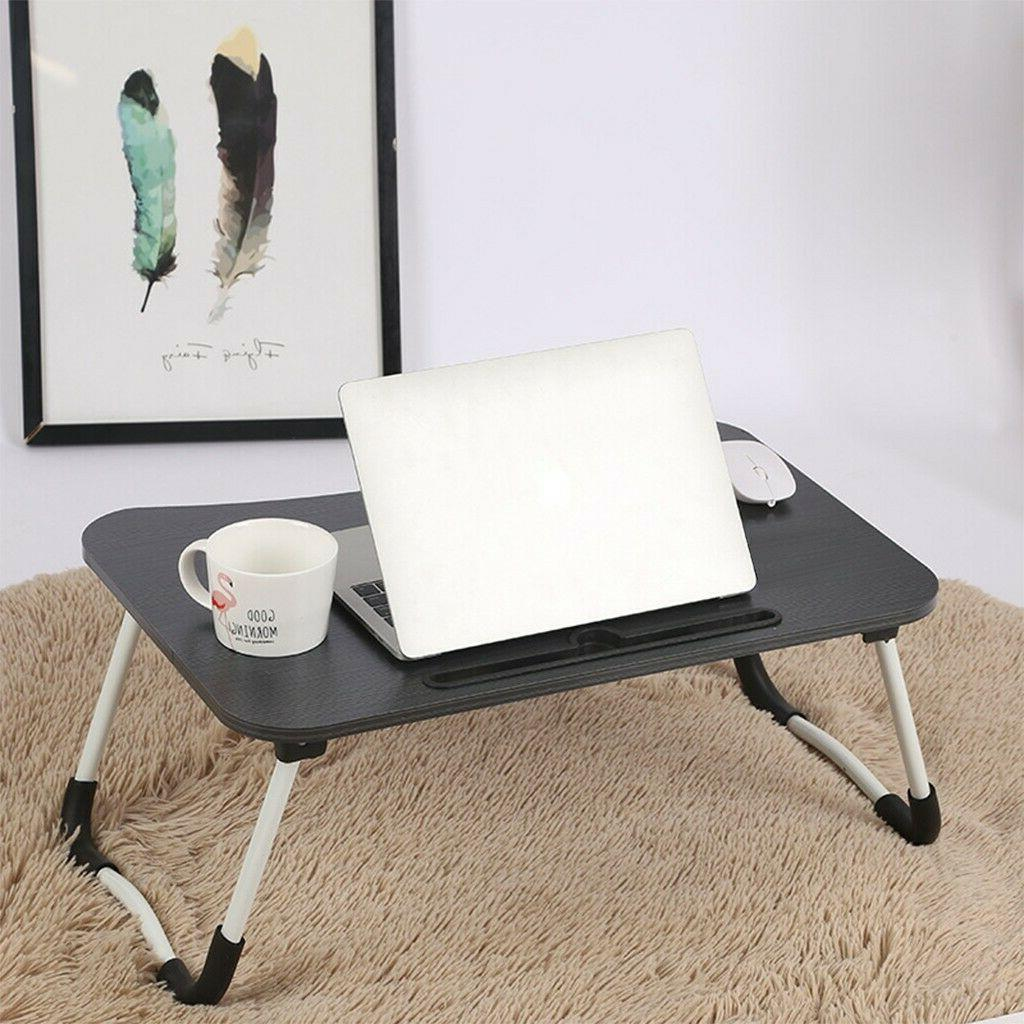 Bed with Folding Laptop Tray Black