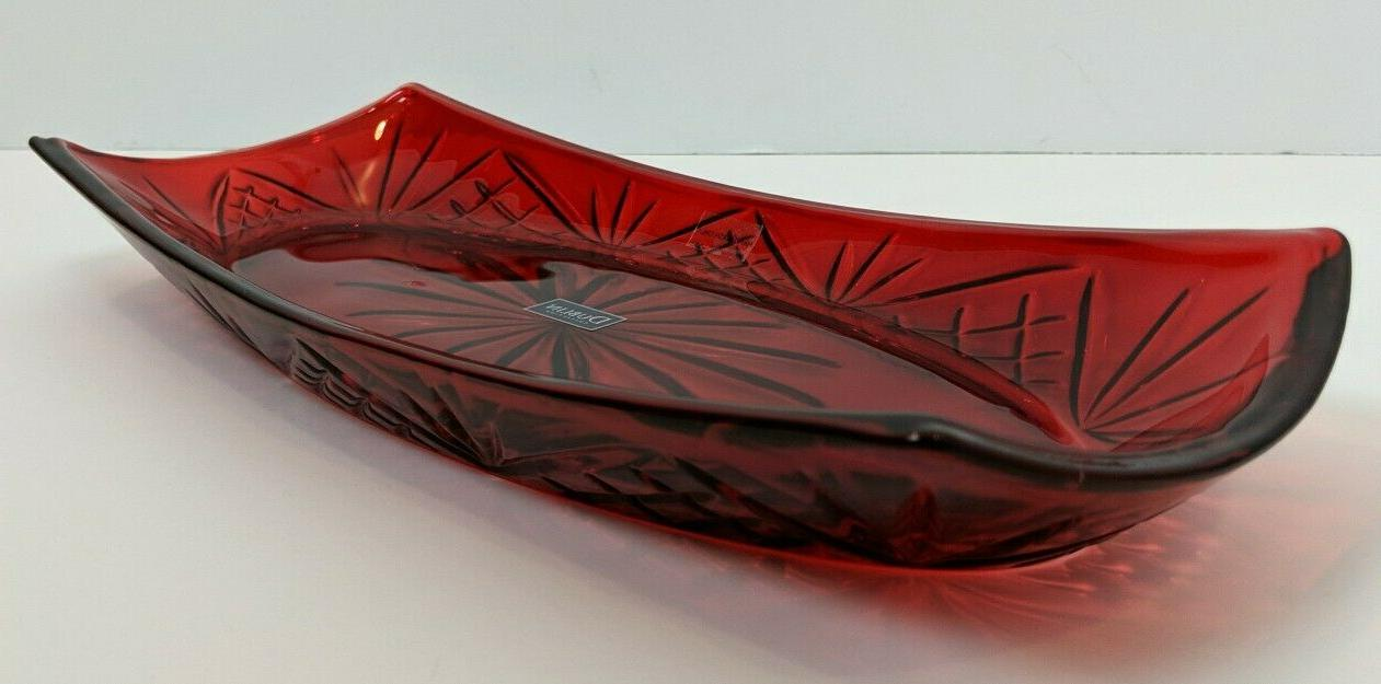 Godinger Red Crystal Tray Decorative Dish Shannon by New Box