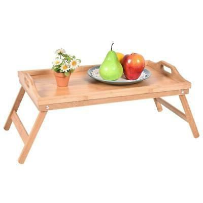 NEW FOLDING BAMBOO SERVING BED TRAY TABLE BREAKFAST