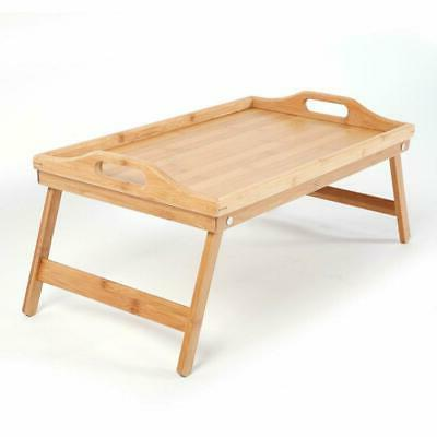 NEW BAMBOO WOODEN SERVING LAP TABLE BREAKFAST
