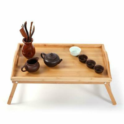 NEW FOLDING BAMBOO SERVING TRAY TABLE TRAY W LEGS