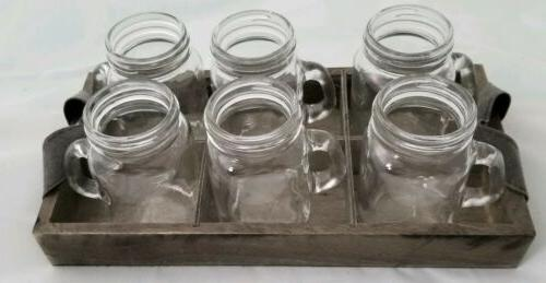 """NEW """"CIRCLEWARE"""" 6 Clear Glass Mason Jar Mini Mugs with Wooden Carry"""