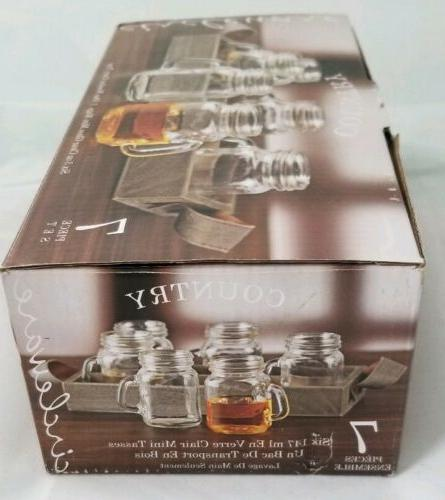 NEW Set 6 Glass Jar Mini Mugs with Wooden Carry