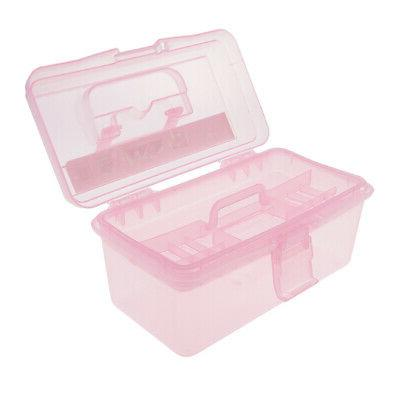 Clear Plastic Storage Box Case w Tray for Art Craft Supply,