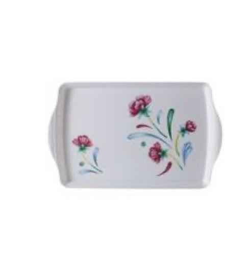 poppies on blue melamine serving tray by