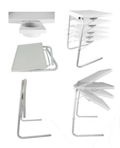 Portable Foldable Table With Cup White