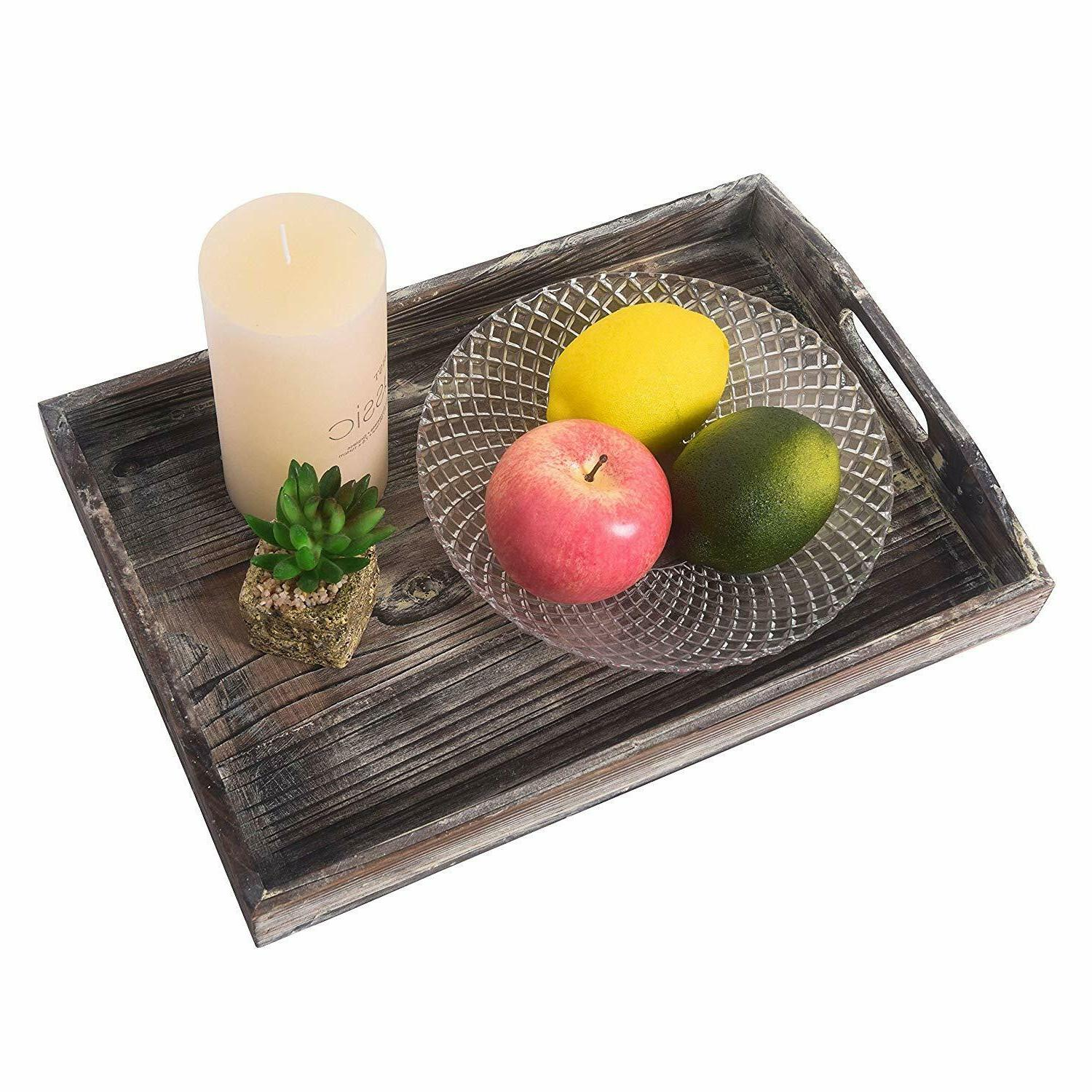 Ottoman Wooden Rustic Trays Plate Cutout Handles 3