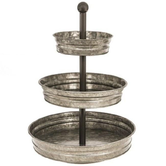 Rustic Farmhouse Country Galvanized Metal Three-Tiered Tray
