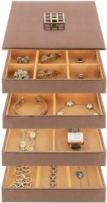 Stock Your Home Stackable Jewelry Organizer Trays & Lid for