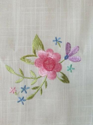 white fabric pink floral embroidered topper napkin