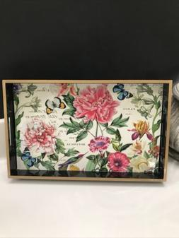 Michel Design Works Lacquered Floral Butterfly Tray